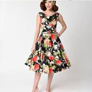Unique Vintage Fit and Flare Dress with Full Skirt